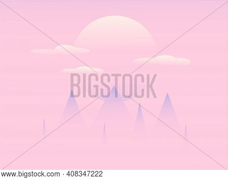 A Foggy Mountain And Sunset, Pink Background, Eps10