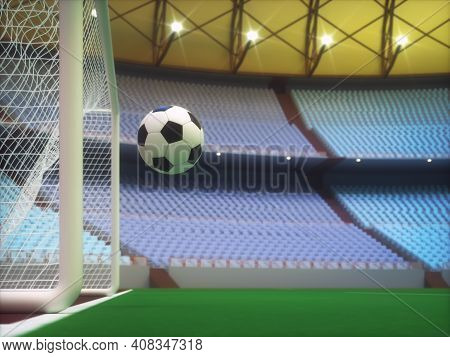 Soccer Ball Entering The Goal Inside A Sports Stadium With The Grandstand In The Background. 3d Illu