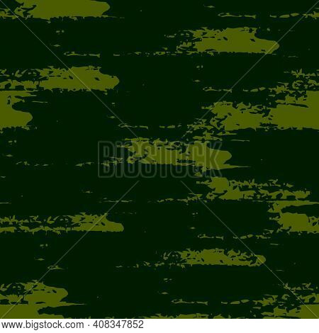 Grunge Brush Stroke Seamless Pattern. Organic, Natural Camouflage Texture. Hand Drawn Black Ink, Pai