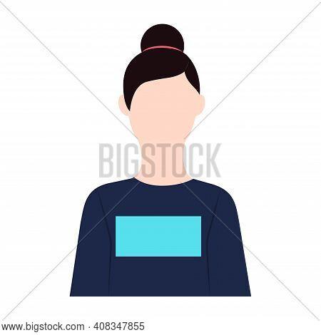 Girl Icon Vector Illustration In Flat Design Brunette Caucasian Girl With Hair Bun Isolated On White