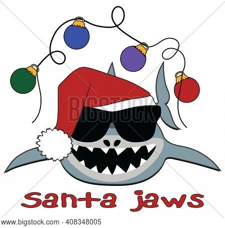 Santa Jaws Funny Christmas Illustration Isolated on White with Clipping Path