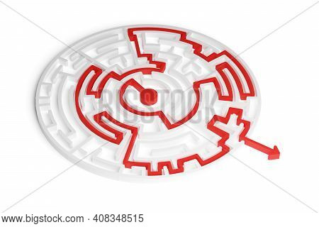 Red Path Thru White Maze Or Labyrinth Over White Background, Success, Strategy Or Solution Concept,