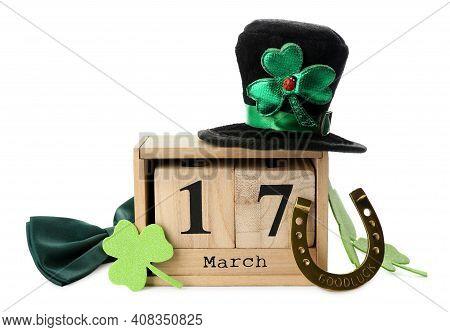 Leprechaun's Hat, Block Calendar And St. Patrick's Day Decor On White Background