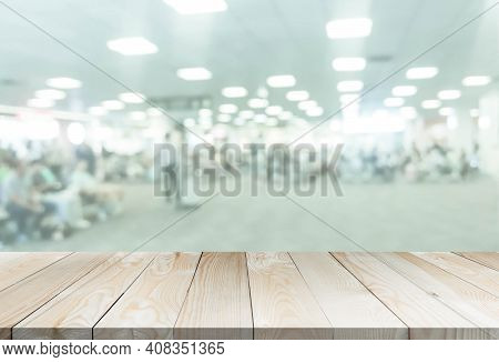 Blured Airport With Wooden Perspective Table For Add Text Or Products In The Presentation. Abstract