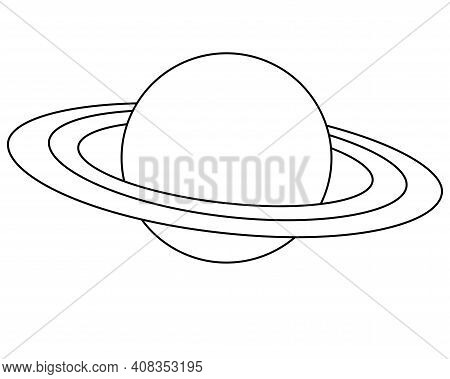Saturn And Its Rings - One Of The Planets Of The Solar System - Vector Linear Picture For Coloring.