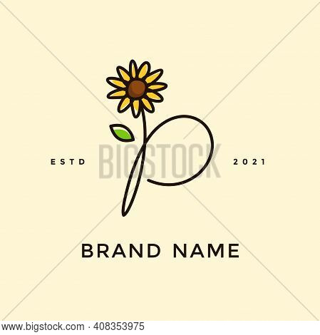 Beauty And Charming Simple Illustration Logo Design Initial P Combine With Sun Flower.