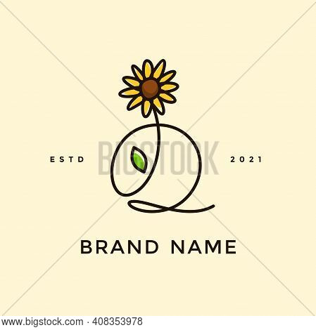 Beauty And Charming Simple Illustration Logo Design Initial Q Combine With Sun Flower.