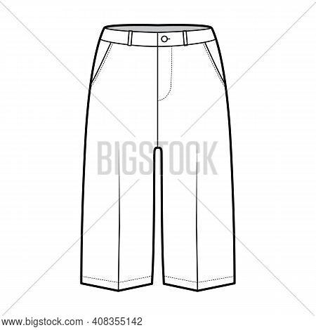 Short Bermuda Pants Technical Fashion Illustration With Knee Length, Low Waist, Rise, Slashed Pocket