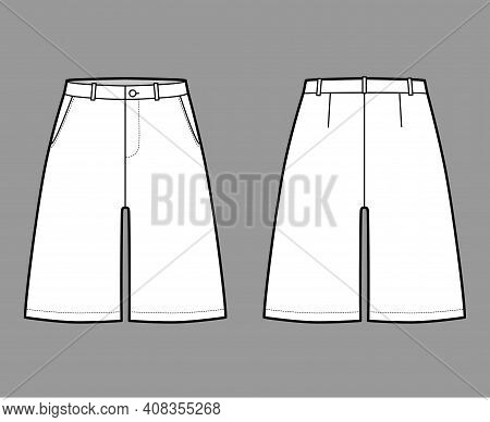 Short Baggy Bermudas Dress Pants Technical Fashion Illustration With Above-the-knee Length, Low Wais