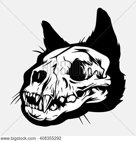 Vector Image Of A Dog Skull On A Gray Background