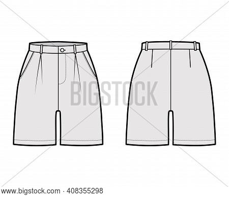 Short Pants Technical Fashion Illustration With Mid-thigh Length, Single Pleat, Normal Waist, High R