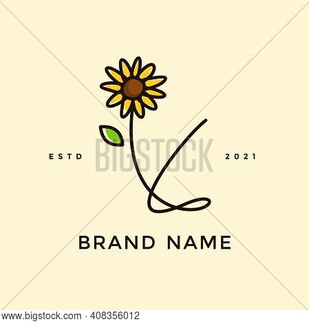 Beauty And Charming Simple Illustration Logo Design Initial Y Combine With Sun Flower.