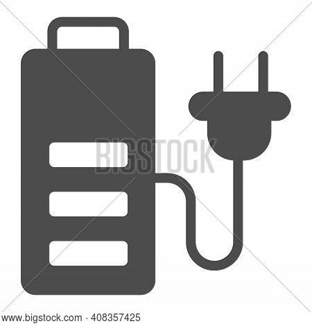 Battery And Cord With Plug Solid Icon, Electric Car Concept, Charge Symbol On White Background, Batt