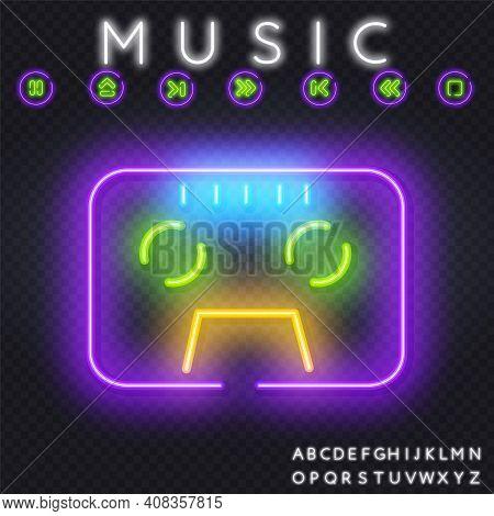 Cassetts For Tape Recorder Neon Sign Vector. Retro Music Design Template Neon Sign, Retro Style 80-9