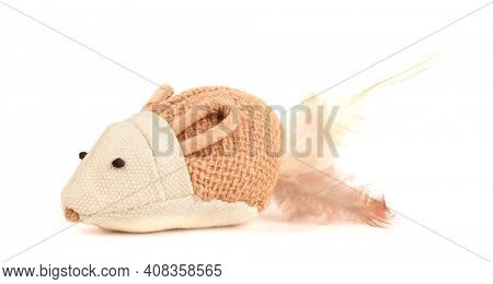 Artificial mouse brown beige pet toy for cats isolated on white background