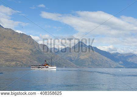 Queenstown New Zealand - March 1 2015; Tss Earnslaw Tourist Passenger Classic Steamship Cruising Acr