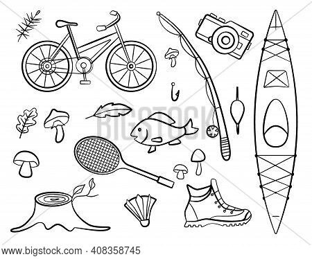Set Of Doodle Forest Camping Design Elements. Hand Drawn Hiking And Camping Doodles. Sport And Fishi