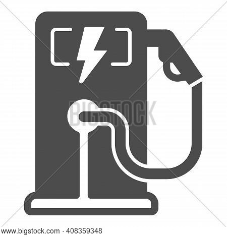 Electric Fuel Pump Station Solid Icon, Electric Car Concept, Electric Vehicle Charging Station Sign