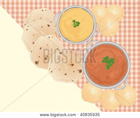 an illustration of an indian breakfast meal including lentil dahl curry pooris and chapattis on a tablecloth with some blank space for text poster