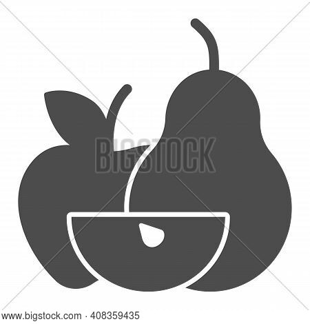 Apple With Pear And Apple Slice Solid Icon, Thanksgiving Day Concept, Harvest Fruit Composition Sign