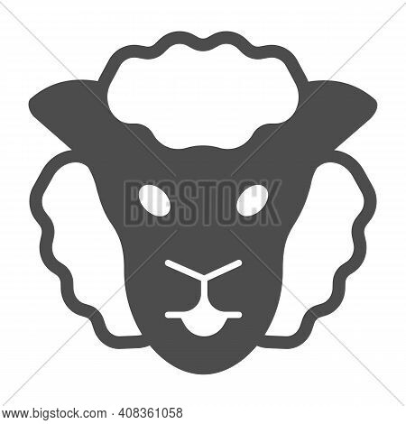 Sheep Head Solid Icon, Domestic Animals Concept, Lamb Sign On White Background, Sheep Portrait Icon