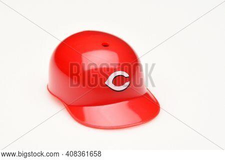 IRVINE, CALIFORNIA - FEBRUARY 28, 2019:  Closeup of a mini collectable batters helmet for the Cincinnati Reds of Major League Baseball.