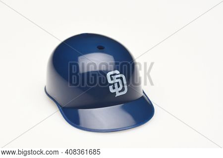 IRVINE, CALIFORNIA - FEBRUARY 28, 2019:  Closeup of a mini collectable batters helmet for the San Diego Padres of Major League Baseball.