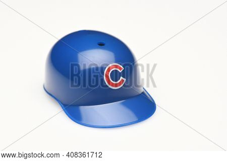 IRVINE, CALIFORNIA - FEBRUARY 28, 2019:  Closeup of a mini collectable batters helmet for the Chicago Cubs of Major League Baseball.