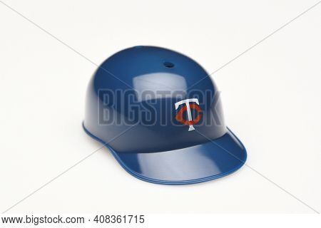 IRVINE, CALIFORNIA - FEBRUARY 28, 2019:  Closeup of a mini collectable batters helmet for the Minnesota Twins of Major League Baseball.