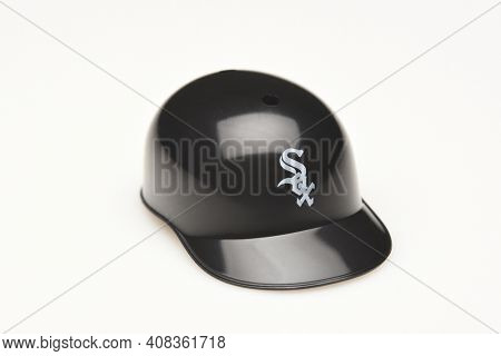 IRVINE, CALIFORNIA - FEBRUARY 28, 2019:  Closeup of a mini collectable batters helmet for the Chicago White Sox of Major League Baseball.
