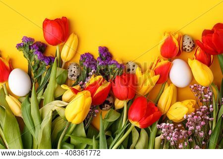 Springtime Season Greeting Card - Happy Easter Concept - Multicolored Tulips And Eggs On Bright Yell