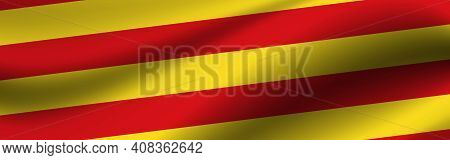 Banner With The Flag Of Catalonia. Fabric Texture Of The Flag Of Catalonia.