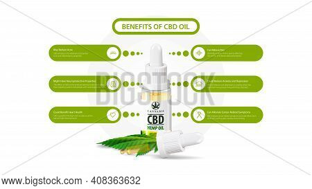 Benefits Of Use Cbd Oil. White Information Poster Of Medical Uses For Cbd Oil With Glass Transperent