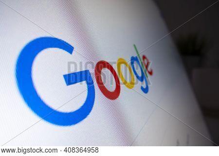 Melbourne, Australia - Feb 16, 2021: Macro View Of Google Logo On A Computer Running Chrome Browser