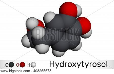 Hydroxytyrosol Molecule. It Is Catechol, Phenolic Phytochemical Occurring In Extra Virgin Olive Oil,