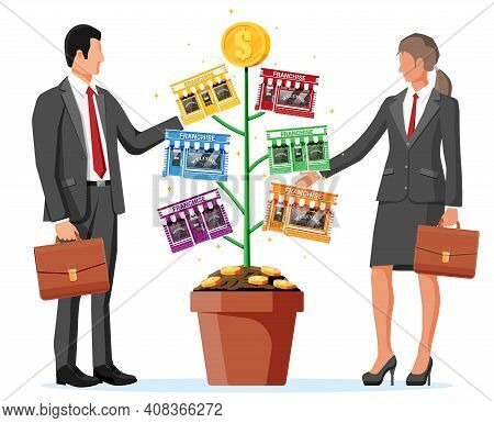 Successful Franchise Money Tree And Business People. Franchising Shop Building Or Commercial Propert