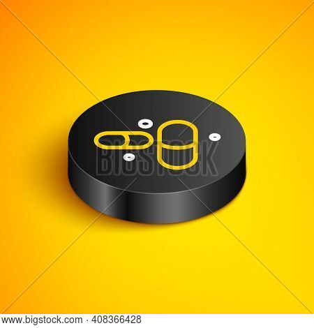 Isometric Line Vitamin Complex Of Pill Capsule Icon Isolated On Yellow Background. Healthy Lifestyle