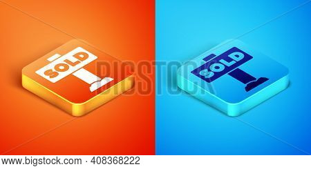 Isometric Hanging Sign With Text Sold Icon Isolated On Orange And Blue Background. Sold Sticker. Sol