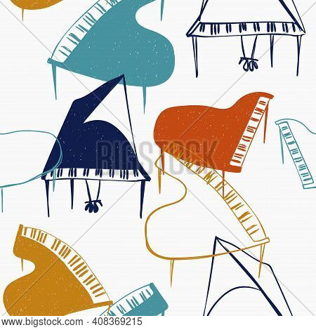 Funny Seamless Pattern With Colorful Piano On A White Background. Abstract Musical Print.