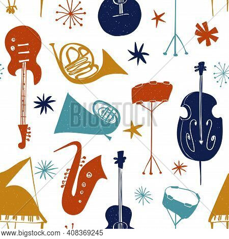 Funny Seamless Pattern With Colorful Musical Instruments On A White Background. Abstract Music Colle
