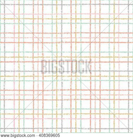 Check Pattern Design. Cute Textured Checked Geometric Seamless Repeat. Vector Plaid Illustration
