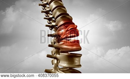 Spine Pain And Spinal Ache Or Bachache Medical Disease Symbol As A Suffering Human Skeleton Screamin