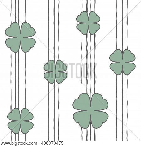 Seamless Shamrock Background With Blue Leaves And Hand Drawn Shabby Stripes On White Background. Iri