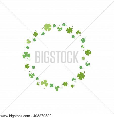 Clover Garland On White Background. St Patrick Day Greeting Card With Shamrock Wreath And Sky. Irish