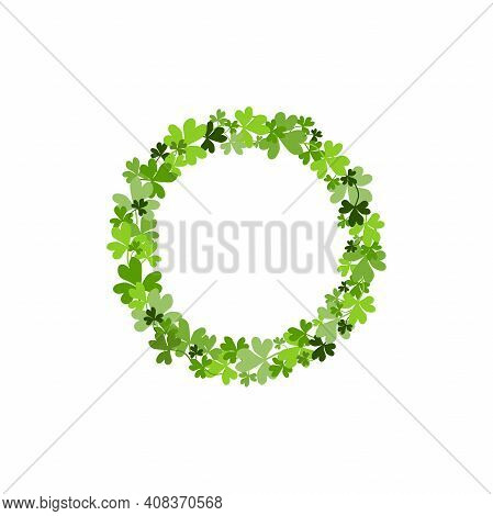 Clover Garland On Green Background. St Patrick Day Greeting Card With Shamrock Wreath. Irish. Vector