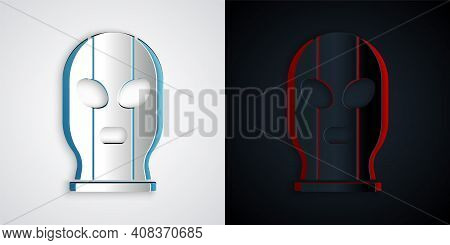 Paper Cut Mexican Wrestler Icon Isolated On Grey And Black Background. Paper Art Style. Vector