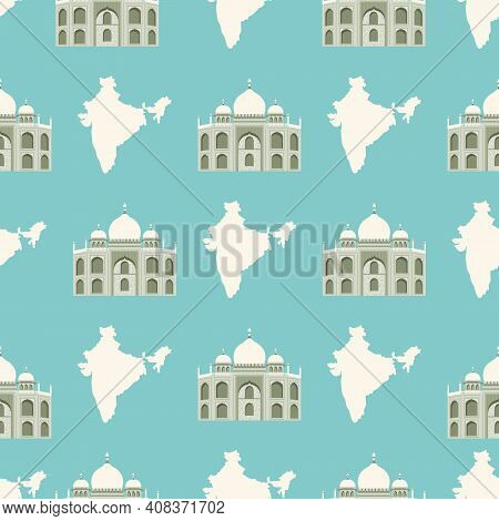 Seamless Pattern With Tadj Mahal Of Agra And Map Of India.