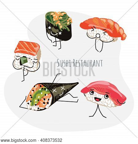 Sushi Restaurant Banner Template. Japanese Food Poster, Banner, Card, Flyer With Cute Funny Rolls Ch