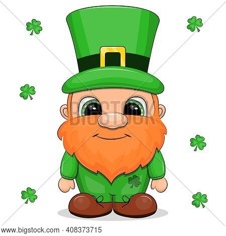 Irish Leprechaun On St. Patrick's Day. Vector Illustration Isolated On White Background With Clover.