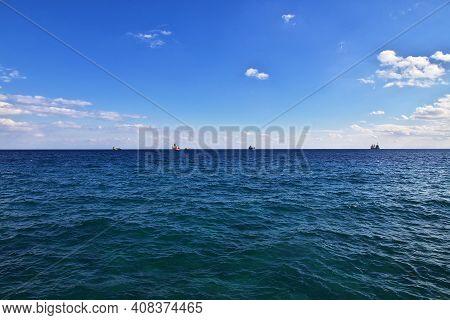 Limassol, Cyprus - 03 Jan 2016: The View Of Mediterranean Sea In Limassol, Cyprus